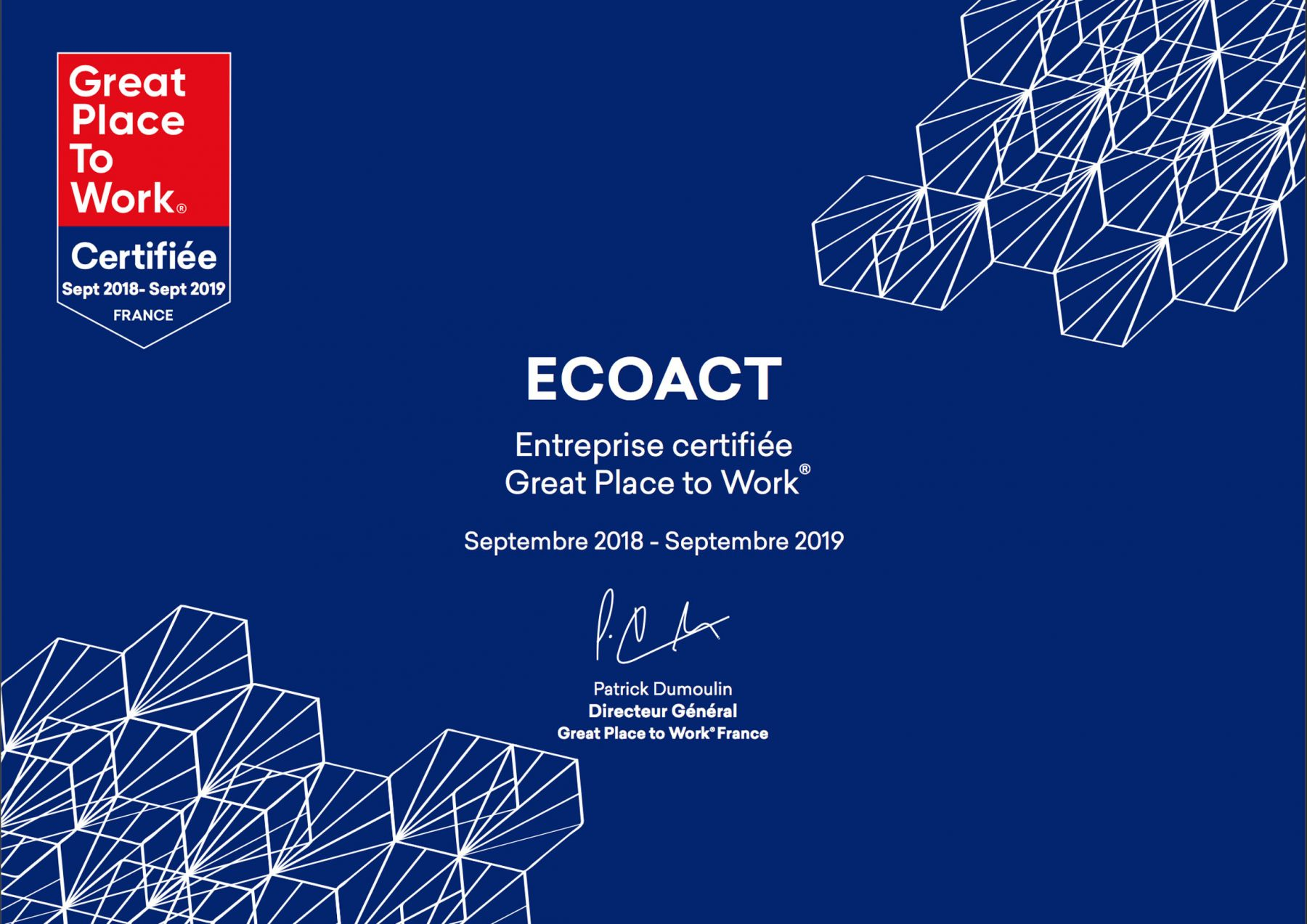 EcoAct - Environmental Consultancy - Great Place to Work - Certificate
